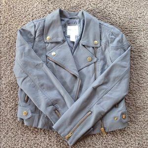 Forever 21, grey leather jacket, size girls M